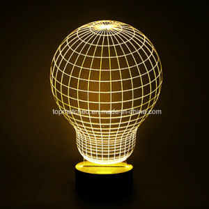 Wood Base Valentine′s Day Gift 3D LED Night Lamp/Light pictures & photos