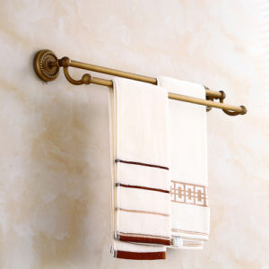 Flg Antique Bathroom Double Towel Bars with Solid Brass pictures & photos