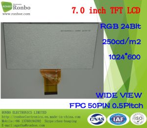 "7.0"" 1024X600 RGB 50pin 250CD/M2 Customizable Thin TFT LCD Display pictures & photos"