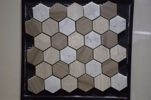 Factory Supply Wood Grain Marble Lantern Shaped Marble Mosaics pictures & photos