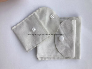 Wholesale Fashion Cream Various Function Double-Side Suede Clamshell Pouch with Button pictures & photos