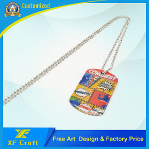 Factory Price Custom Offest Printing Epoxy Metal Dog Tags with Ball Chain (XF-DT08) pictures & photos