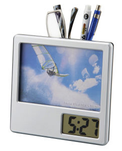 Digital Photo Frame Clock with Pen Holder pictures & photos