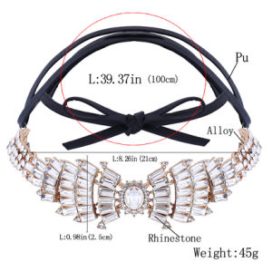 Fashion PU Leather Full Rhinestone Bow Wings Diamond Collar Choker Necklace Jewelry pictures & photos