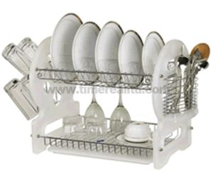 2 Layers Metal Wire Kitchen Dish Rack Plastic Board No. Dr16-8bp pictures & photos