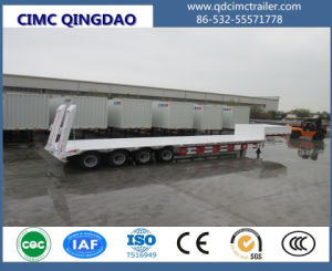 Cimc 4 Axle Low Bed Semi Trailer, 80 Tons Low Flatbed Trailer Truck Chassis pictures & photos