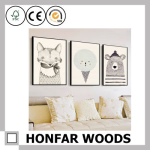 Customized Size Brown Wood Painting Poster Frame for Home Decoration pictures & photos