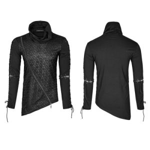 Punk Rock Zipper High Collar Drawstring Long Sleeves Shirts (T-472) pictures & photos