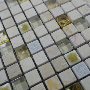 Hot Sale Yellow Color Marble Mixed Glass Mosaic for Bathroom Wall pictures & photos