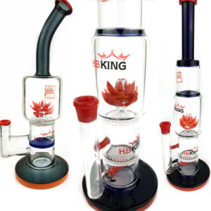 Hb King 2017 New Arrival Colorful Oil Rig Beaker Base Lotus Perc Glass Water Pipe Recycler Pipes Rose Glass Smoking Pipe pictures & photos