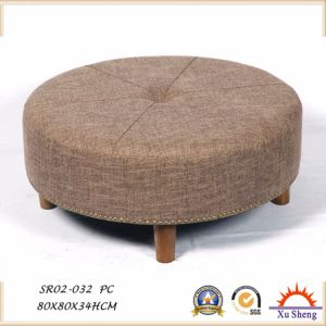 Button Tufted Round Ottoman, Coffee Table with Nailhead Trim for Living Room pictures & photos