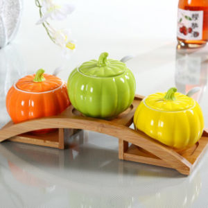 Ceramic Pumpkin Shaped Salt Container Pepper and Salt Shaker pictures & photos