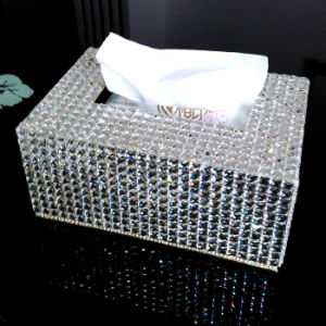 Luxury Clear Crystal Rhinestone Tissue Holder Silver Napkins Box for Office (TB-016) pictures & photos