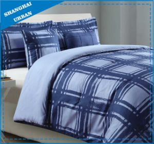 Navy Plaid Design Printed Cotton Bedding Home Textile pictures & photos