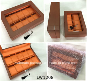 Mens Wholesale Ten Slots Glass Top Leather Watch Boxes pictures & photos