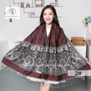 Lady Fashion Pashmina Shawl Ethnic Style Cashew Jacquard Scarf pictures & photos