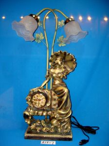 Unique Lamp with Clock with Resin Lady Base pictures & photos