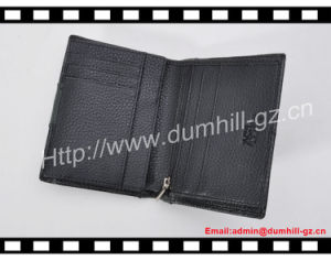 Litchi Pattern Cowhide Leather Black Men Purse pictures & photos