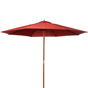 10FT Wooden Patio Umbrella for Sun Shade Wood Pole Outdoor Beach Cafe Garden Red