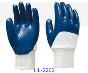 Work Glove Polyester Liner Glove with Grey Nitrile Palm Coated, Smooth Finishing pictures & photos