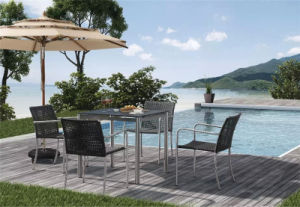Modern Design Outdoor Garden Swimming Pool Rattan Dining Set