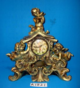 Antique Desktop Clock with Polyresin Angel Base pictures & photos