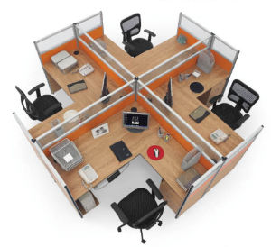 Modern Cross Computer Desk Office 4 Person Workstation pictures & photos