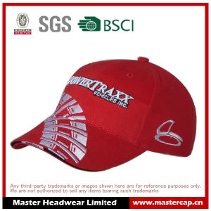 Red Baseball Cap with Flat Embroidery