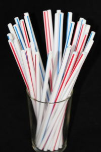 Red & Blue Stripes-White Straight Drinking Straw