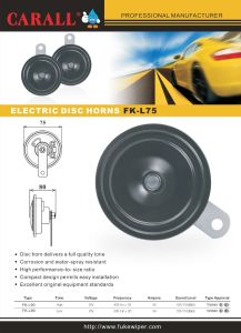 Carall Fk-L75 Automechanika Bell Alarm Brand New Twin Pack Power Magic Voice Ring Tone DC 12V Auto Parts E9 Speaker Disc Car Horn pictures & photos
