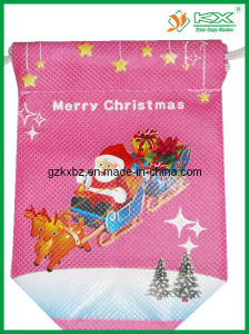 Red Non Woven Christmas Drawstring Gift Bag (KX-JS181)