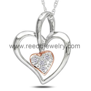 Wedding Accessories Silver Charm Necklace, Open Double Heart CZ Pendant Necklace