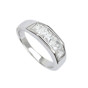Polished Sterling Silver CZ Engagement Wedding Band Ring