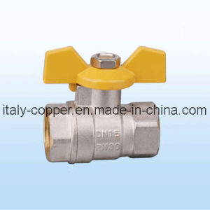 15mm Nickel Plated CE Certified Brass Butterfly Ball Valve IC-1055) pictures & photos