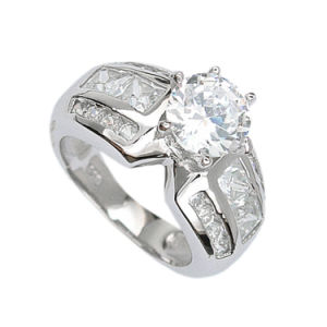 Elegant White Clear Cubic Zirconia Stone Sterling Silver Womens Ring