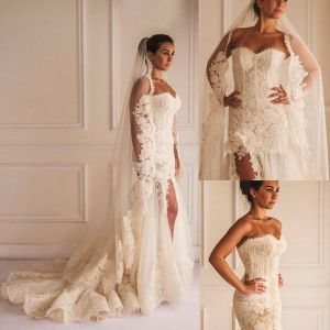 Lace Wedding Dresses Side Slit Beach Bridal Wedding Gown H152401 pictures & photos