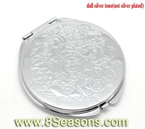 "Silver Tone Carved Make up Compact Mirror 6.6x6.2cm (2-5/8""x2-1/2"") (B15137)"
