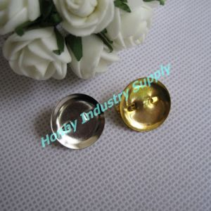 Badge Back 20mm Silver & Gold Round Pad Brooch Pin Back
