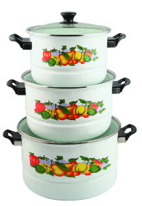3PCS Set Enamel Steamer Pot 26/30/34cm 9705D pictures & photos