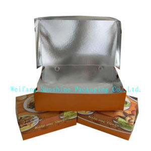 Disposable Aluminium Foil Lined Cardboard Paper Box Used for Takeaway Food Industry