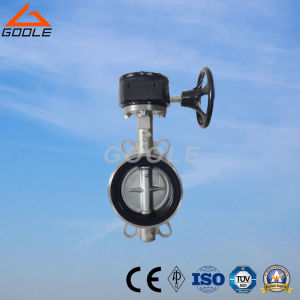 Worm Gear Box Operated Wafer Type Soft Seal Center Sealing Butterfly Valve (GAD371X) pictures & photos