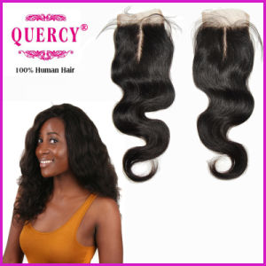 High Quality 100% Human Virgin Remy Hair Brazilian Indian 3.5*4 Body Wave Top Lace Closure pictures & photos