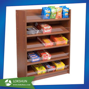 5 Shelves Wood Snack Display Rack pictures & photos