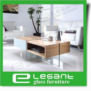 Clear Tempered Glass TV Stand with Ash Wood Veneer MDF Top pictures & photos