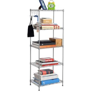 DIY 5 Tiers Open Silver Grey Coated Metal Home Livingroom Storage Book Shelves Ideas pictures & photos