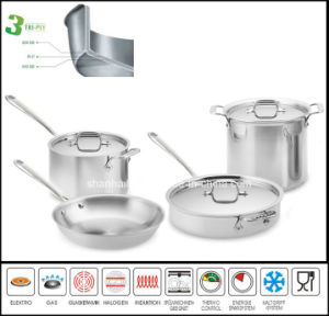 Cookware Set 3ply Body Stainless Steel Clad Cookware pictures & photos