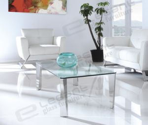 New Glass Top Tea Table with Stainless Steel Legs pictures & photos