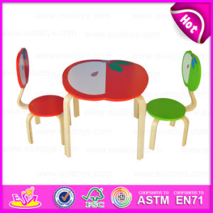 2015 Solid Wood Kids Table and Chairs for Preshool, Children Wooden Table and Chair, Apple Design Wooden Toy Table Chairs Wo8g142 pictures & photos