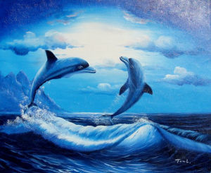Blue Sea World Play Dolphin Design Oil Painting (LH-374000) pictures & photos