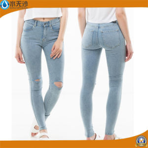 High Waist Design Women Denim Jeans Ripped Jean Woman pictures & photos